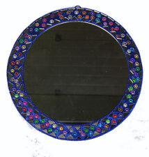 Miroir Indien Rond Mural Paillettes Bollywood Ø=24cm 100% Artisanat Inde 6B