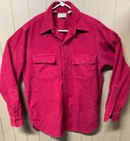 Vintage LL Bean Chamois Shirt; Mens Large; Made In USA; Solid Red Freeport Maine