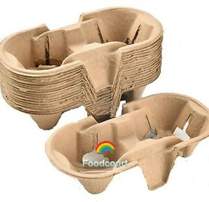 2 Cup Drink Cup Carrier, Cup Holder, Cup Carry Tray Biodegradable Pulp 600 Count