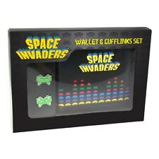 RETRO SPACE INVADERS WALLET & CUFFLINKS SET BRAND NEW IN GIFT BOX GREAT GIFT