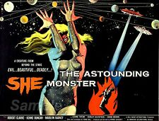 VINTAGE 1957 THE ASTOUNDING SHE MONSTER MOVIE POSTER A3 PRINT