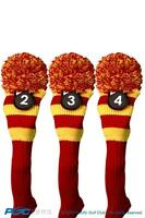 RED HYBRID HEADCOVER NEW 3 pc set YELLOW 2 3 4 KNIT Rescue golf club Head cover