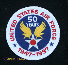 USAF 50TH ANNIVERSARY 1947 1997 US AIR FORCE HAT PATCH AFB PILOT AIR CREW WOW!