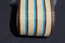 Lawn chair webbing, 72ft new, tan stripes w/blue accent 2 1/4in wide  REDUCED