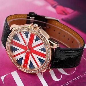 Montre Femme Bracelet cuir drapeau union jack UK anglais noire