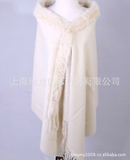 Hot Warm 100% Wool 4 ply Pashmina Cashmere With Rabbit Fur Shawl Wrap Scarf