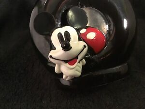 Disney Mickey Mouse 3D Round Black Glass Liquid Soap Lotion Pump Dispenser Cute