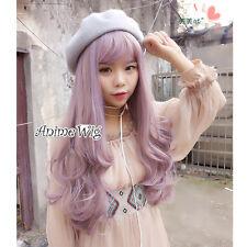 Lolita Mixed Light Purple Long Wavy Party Women Cosplay Hair Wig Heat Resistant