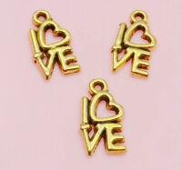 Free Ship 20Pcs Gold Plated LOVE Charms Pendant Fit Bracelet 14x8mm