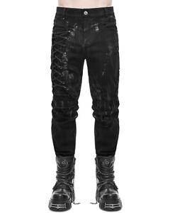 Devil Fashion Mens Dieselpunk Gothic Pants Jeans Black Custom Punk Grunge Biker