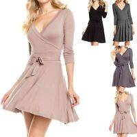 Solid Overlap V Neck Solid 3/4 Sleeve Belted Flare Dress Casual Rayon Span S M L