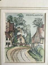 "Print from Wood Engraving titled ""Charlwood"" 1910"