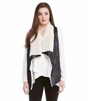 Karen Kane New Black White Faux Fur Leather Vest Size L (NWT $ 148.00) USA MADE