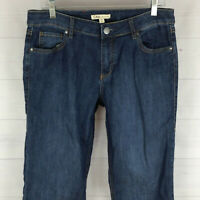 CAbi womens size 10 long stretch blue dark wash mid rise bootcut jeans in LNC