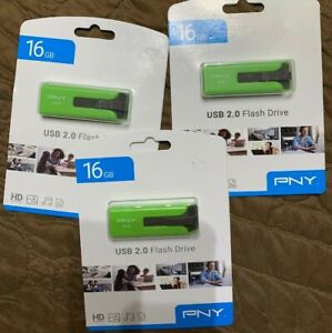 LOT OF 3 USB Flash Drive PNY Green 16GB New Factory Sealed
