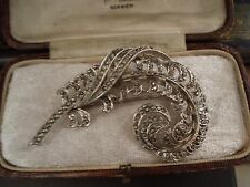 Vintage Jewellery Marcasite Feather Brooch. Rhodium Plated