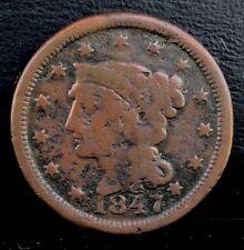 rare 1847 FS-302 N-43 1c Braided Hair LARGE CENT copper coin