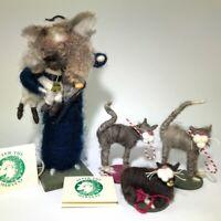 Artisan Wool folk art Cheryl Dreyer Xmas Shephard w/ sheep & CATS OOAK artist