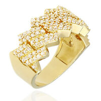 14K Yellow Gold Created Diamond Micro Pave Four Prong Flat Miami Cuban Link Ring