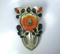 Vintage Japan Lusterware Orange Flower Wall Pocket