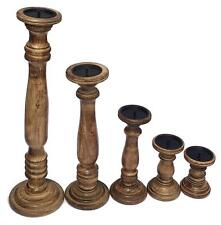 Rustic Shabby Chic Solid Carved Pillar Church Wooden Candle Holder Stick Stand