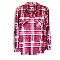 Merona Women's Sz L Shirt Plaid Popover Top Long Sleeve