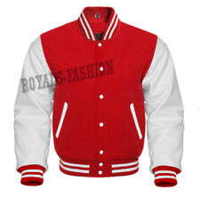 Varsity Letterman Baseball Red wool and Genuine White Leather Sleeves Jacket