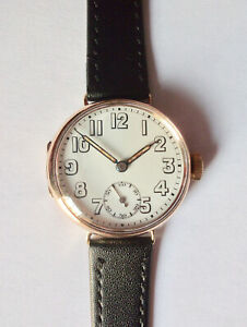 9CT GOLD OFFICERS TRENCH WATCH - WORKING