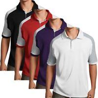 Antigua Essentials Mens Golf Polo Shirt with Color Block Details