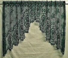 Hunter Green Lace Window Swag Pair or Insert Valance Cameo Rose Bedroom