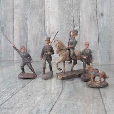 ELASTOLIN  - Massefiguren - 4 tlg. Soldaten-Konvolut + Pferd und Hund - #A35861