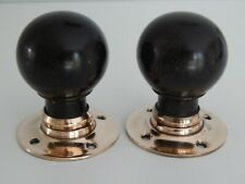 More details for 1 x pair of reclaimed victorian ebony door knobs (3 pairs available) 50mm
