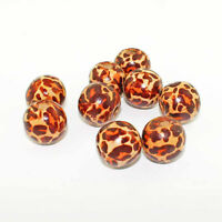 20 Wood Beads Leopard Print Coconut Brown 20mm x 18mm - BD556