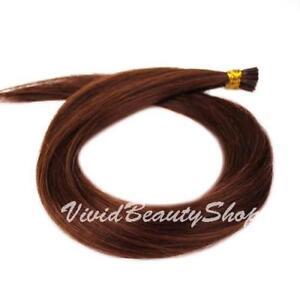 100 I Stick Bond Glue Tip Shoelace Straight Remy Human Hair Extension Auburn #33