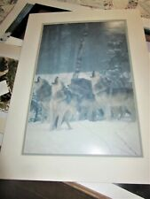 """large blue wash art poater wolves howling matted 28 x 20 """""""