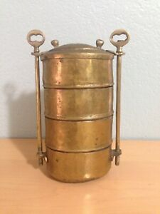 Vintage Hand Forged Signed Brass Lunch Box Tiffin Dabbas 4 Compartments Storage