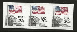 US Scott #1895d, Imperf Coil of 3 1981 Flag 20c VF MNH
