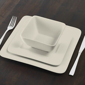 Gourmet Collection 12-Piece Square Stoneware Taupe Dinnerware Set