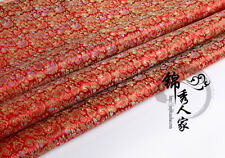 Floral Satin Faux Silk Fabric Chinese Damask Brocade Clothes Crafts DIY Vintage