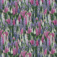 Lupin Flowers Pink Purple White Floral Lupins Quilting Fabric FQ or Metre *New*