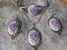 PURPLE LAVENDER ROSE CAMEO NECKLACE. BRACELET, AND EARRINGS SET - SILVER PLATED