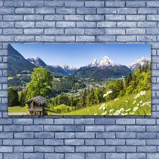 Leinwand-Bilder Wandbild Leinwandbild 140x70 Gebirge Felder Natur