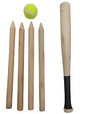 6 Piece Wooden Rounders Baseball Set & Carry Bag - Summer Beach Sports Game Toy