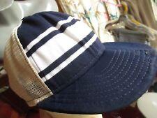 MEDIUM True Vtg 80s AJD SUPERSTRIPE KNIT Farm Mesh DISTRESS Trucker Hat Cap BLUE