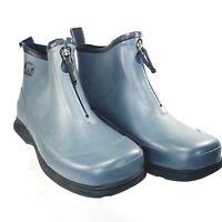 Sorel Rain Gauge Zip Womens Blue Waterproof Rain Boots SZ 8 GUC Modified Zip Tab