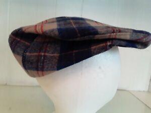 Pendleton Sz L Flat Cap Newsboy Hat 100% Wool Blue Tan Red Plaid Made in USA