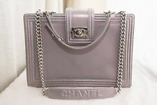 VERIFIED Authentic Chanel Pearlized Gray Le Boy Tote Bag