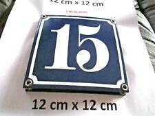 Hausnummer Nr. 15 weisse Zahl auf blauem Hintergrund 12 cm x 12 cm Emaille