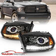 For 2009-18 Dodge Ram 1500 2500 3500 Polished Black Led Bar Projector Headlight (Fits: Dodge)