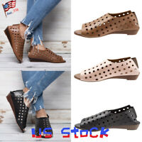 Summer Women Sandals Hole Shoes Peep Toe Hollow Out Slip On Casual Flat Heels US